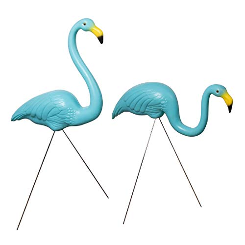 Set of 2 Flamingos – Decorative, Gift, Blue Lawn Decor Ideal for Lawn, Garden, Flower Beds and Campsites – Weather-Resistant Plastic/Galvanized Metal
