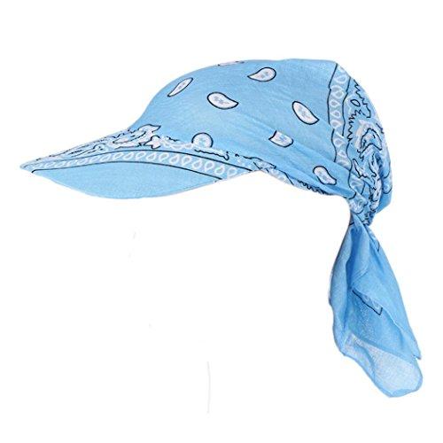 Vertily Hat Women's Classic Flower Printed Foldable Baseball Visor Headswrap Cap (Sky Blue)