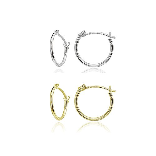 2 Pair Set 14K Yellow & White Gold Tiny Small 12mm High Polished Round Thin Lightweight Unisex Hoop Earrings