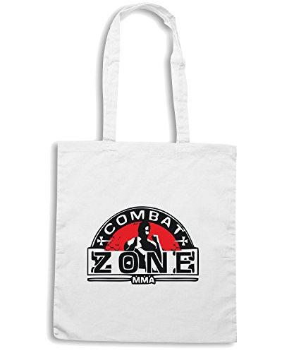 T-Shirtshock - Bolsa para la compra TAM0192 mma mixed martial arts hooded tshirt Blanco