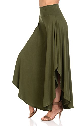 Ladybug Women's Solid Long Pants Flowy Wide Leg Palazzo Pants Fold Over Side Slit S-Plus Sizes (Small, Olive)