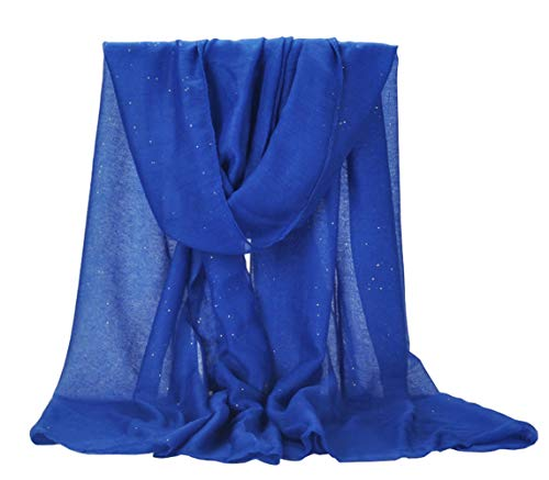 (Woogwin Women's Cotton Scarves Lady Light Soft Fashion Solid Scarf Wrap Shawl (One Size, StarLoyalblue))
