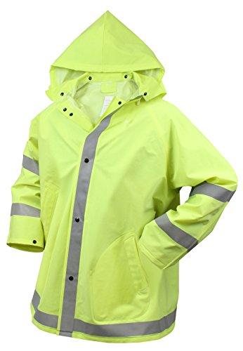 (Rothco Reflective Rain Jacket, Safety Green, X-Large)