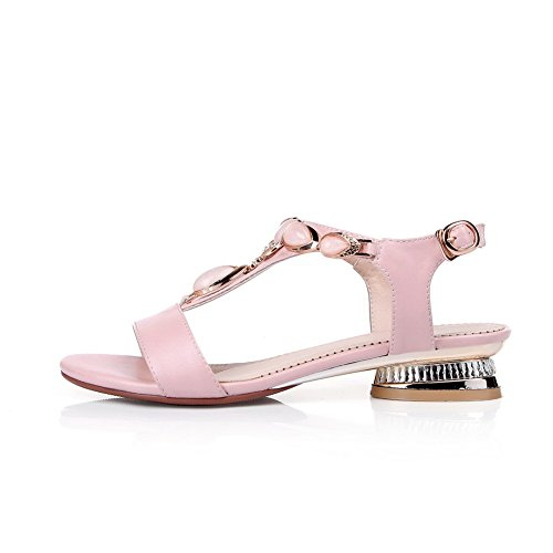 VogueZone009 Women's Open Toe Buckle PU Solid Low-Heels Sandals Pink EpixNCVc68