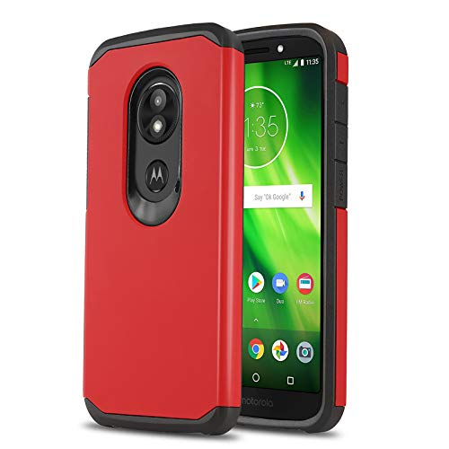 Phone Case for [Motorola Moto E5 (XT1920DL)], [DuoTEK Series][Red] Shockproof Cover [Impact Resistant][Defender] for Moto E5 (Tracfone, Simple Mobile, Straight Talk, Total Wireless)