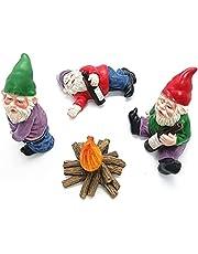 Tuinkabouters figuur, 4 stuks dronken tuinkabouters, mini tuinkabouters, gebruikt voor poppenhuis tuindecoratie accessoires binnen en buiten JTLB