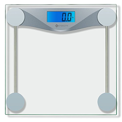 Etekcity Digital Bathroom Body Weight Scale, High Precision Smart Step-on Technology, Tempered Glass, Backlit Display, Body Tape Measure