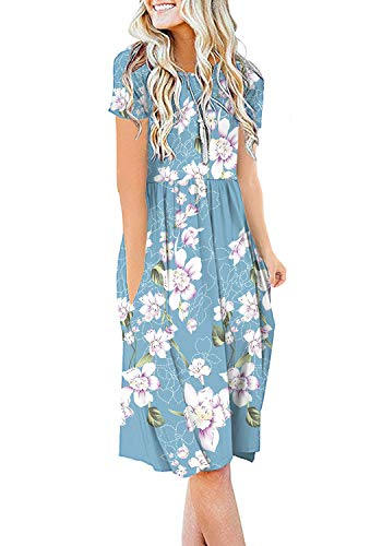 DB MOON Womens Summer Casual Empire Waist Dresses with Pockets (F Light Blue,S) (Ladies Dresses Casual)