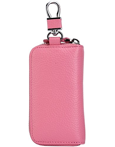 Women's Genuine Leather Zipper Key Case Car Key Holder 6 Hook Key Wallet (Pink) by ZORESS