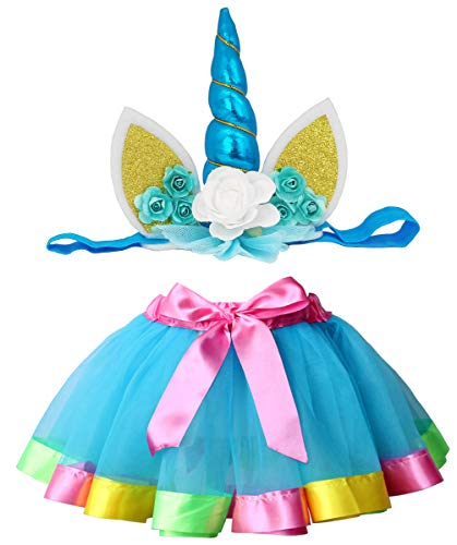 Loveyal Tulle Rainbow Tutu Skirt for Newborn Baby Girls 1st Birthday Photography Outfit Sets with Unicorn Headband. (Lake Blue, S,0-24 Months) -