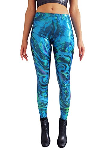 MADWAG Mermaid Glitter Printed Women's Leggings Ladies Compression Tights Yoga Festival Pants EDM Clothing XS S M L XL XXL (XX-Large) (Clown Hoop Pants)