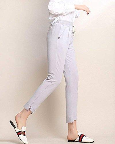 Chinois Filles Vêtements Crayon Fit Élégant Femmes Automne Grau Longue Sangles Mode Pantalon Printemps Slim Élastique Taille Couleur ZqTPw