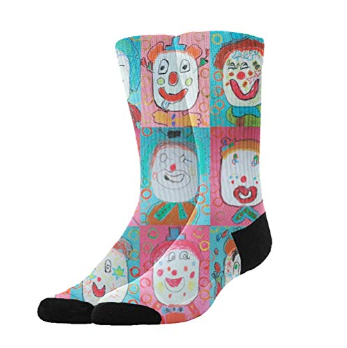 KYWYN 3D Halloween Colorful Clown Compression Socks for Women Men, Fit for Running, Athletic Sports, Crossfit, Flight, Travel, Pregnancy, Nurses (20-30 mmHg) -