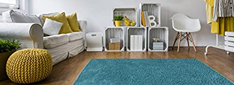 Soft Shag Area Rug 5x7 Plain Solid Color TURQUOISE BLUE - Contemporary Area Rugs for Living Room Bedroom Kitchen Decorative Modern Shaggy (Blue And Green Bedroom Rugs)