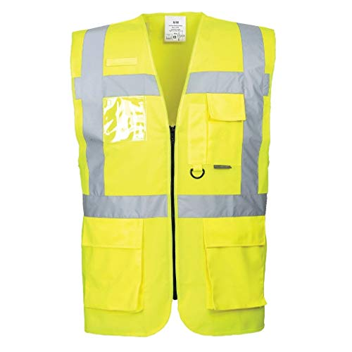 Brite Safety Berlin Executive Hi Vis Vest - ANSI Class 2 Compliant Multi Pocket High Visibility Reflective Vests for Men and Women (Yellow,5XL) -