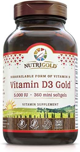 Nutrigold Vitamin D3 5000 Iu, 120 Vegan Capsules (Vegan D3 from Lichen, GMO-Free, Preservative-Free)