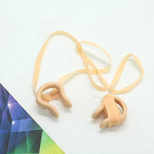 2PCS Swimming Nose Clip with Elastic String Wheat By IDS,Beige