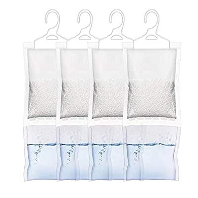 ZMFH Moisture Absorber Hanging Bags, No Scent Max Odor Eliminator, 220g Dehumidification Bags for Closets, Bathrooms, Laundry Rooms, Pantries, Storage, 4 Pack: Home & Kitchen