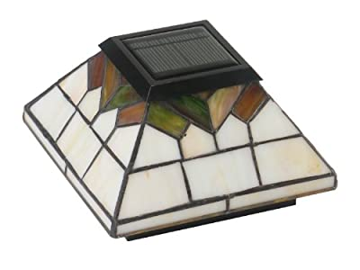 "Classy Caps WG322 Stained Glass Wellington Solar Post Cap, 5"" x 5"""