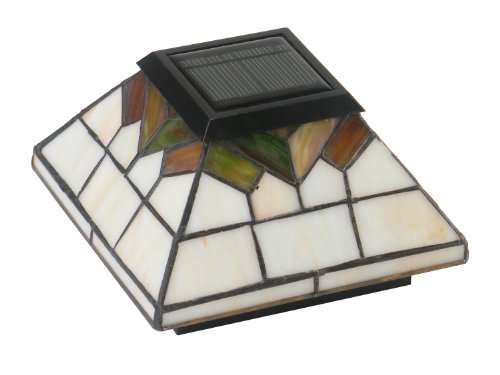 Classy Caps WG322 Stained Glass Wellington Solar Post Cap, 5