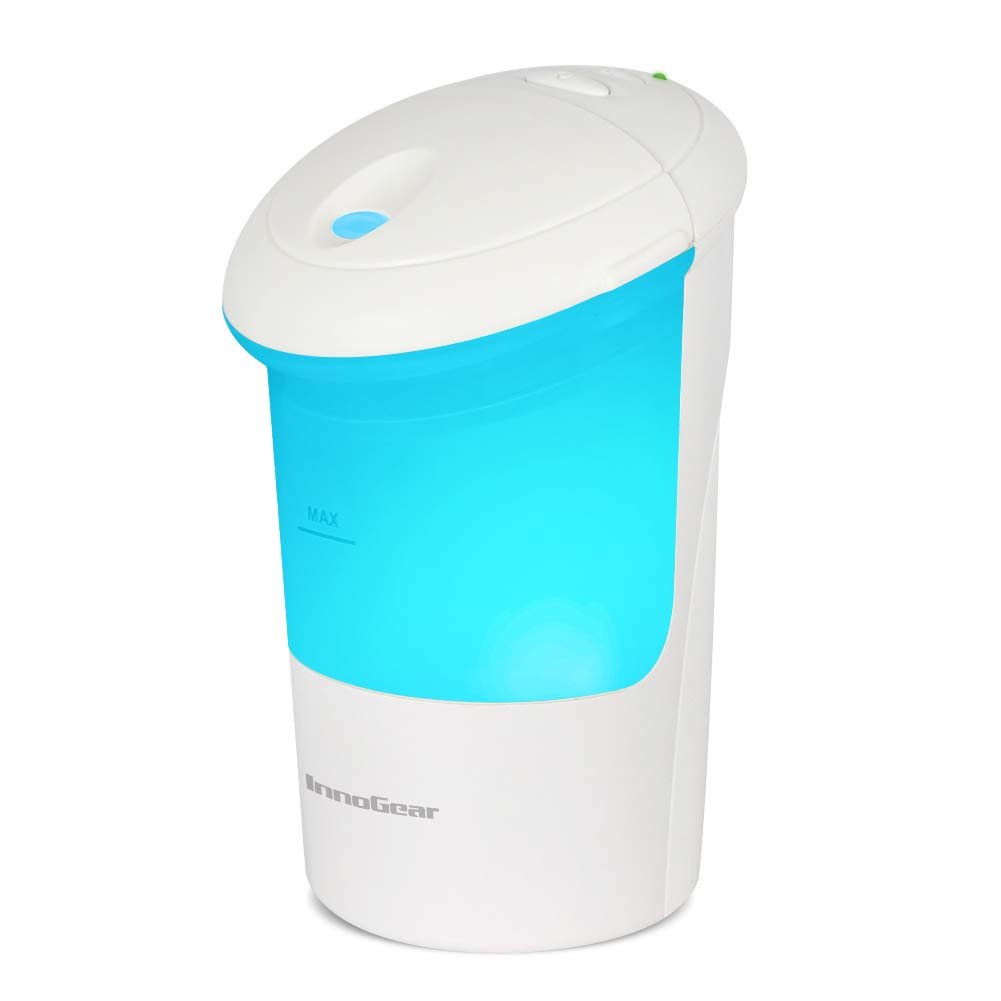 InnoGear USB Car Essential Oil Diffuser Ultrasonic Aromatherapy Diffusers with 7 Colorful LED Lights for Office Travel Home Vehicle, White