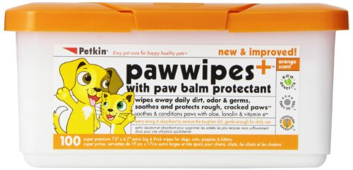 Cat Paw Care (Petkin Paw Wipes, Orange Scent, 100-Count Pack)