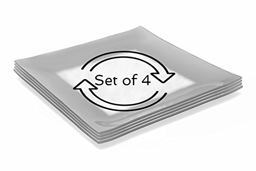 GAC Set of 4 Large Tempered Glass Dinner Plates Break and Chip Resistant - Microwave Safe - Oven Proof - Dishwasher Safe -Charger Plate, Decorative Plate Silver (Square Tempered Glass Plate)