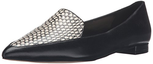 Nine West Women's Abay Leather Pointed Toe Flat Black Spotted Snake Ji89rCJFWP