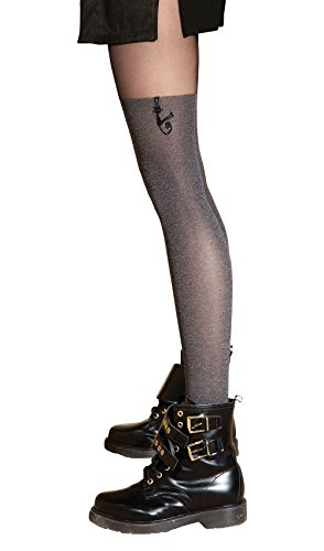 "Gatta COLETTE CAT 04 Women's Grey Printed Mock Thigh High Fashion Cat Tights [Made in Europe] (4(L) 5'7""-5'10"", 138-185 lbs) Gatto Cat"