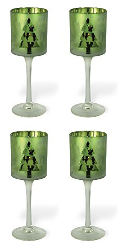 Celebrate the Home Christmas Stemmed Votive Candle Holder, Large, Green Christmas Tree, 4-Count by Boston International (Image #2)