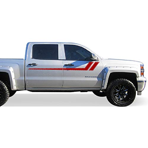 Side Stripe Kit - Bubbles Designs Decal Graphic Sticker Side Sport Stripe Kit Compatible with Chevrolet Silverado 2014-2017 (RED)