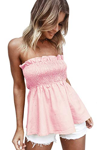 Angelegant Tube Top Dress Women Sexy Strapless Mini Dress Sleeveless Summer Dresses (S, Tops-Blush) ()