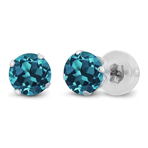 Gem Stone King 14K White Gold London Blue Topaz 4 Prong Women's Stud Earrings, 1.10 Cttw, Gemstone Birthstone, Round 5MM