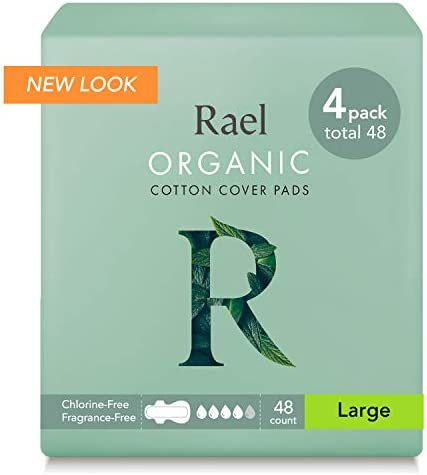 Rael Certified Organic Cotton Menstrual Large Pads - Ultra Thin Natural Sanitary Napkins with Wings, 12 Count (Pack of four)