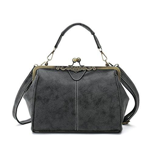 Vintage Handbags Kiss Lock Cross Body Purses Shoulder Messenger Tote Bags for Women PU Leather -