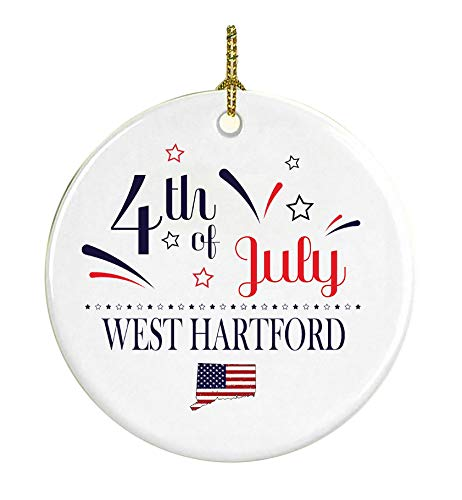 Patriotic Heart Ornament 4Th Of July Decorations For The Home West Hartford Connecticut Independence Day Decorations Declaration of Independence America Pride Ceramic 3 inches White -