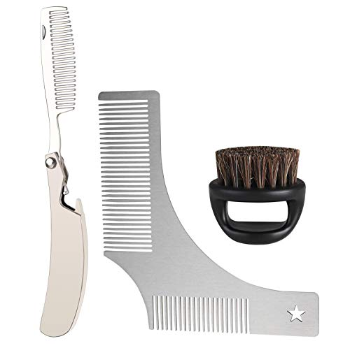 NVTED 2 PCS Beard Mustache Grooming Kits, Folding Stainless Steel Beard Styling and Shaping Template Combs Hair Comb for Beard Trimming and Grooming for Men