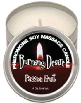 Burning Desire Pheromone Soy Massage Candle - 4 Oz Passion Fruit