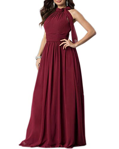 Aofur New Lace Long Chiffon Formal Evening Bridesmaid Dresses Maxi Party Ball Prom Gown Dress Plus Size (Large, Wine Short Sleeve)