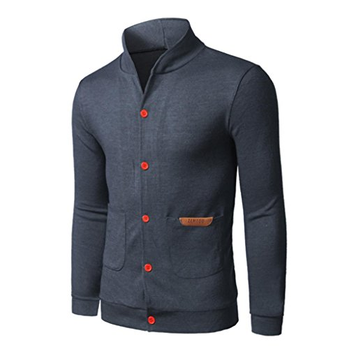 Muranba TOP Fashion Mens Slim Designed Button Cardigan Coat Jacket Blouse men clothes (XL, - Jacket Gray White Flak And Oakley