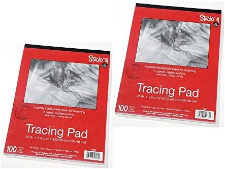 Darice 9インチx12インチ アーティスト用トレーシングペーパー 100枚 - 半透明トレーシングペーパー 鉛筆 マーカー インク用 軽量 中程度の表面 (97490-3) 2 Pack 97490-3