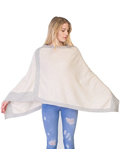 cashmere 4 U Women 100% Pure Cashmere Asymetrical Bicolor Knitted Poncho - Fine Cashmere Yarn