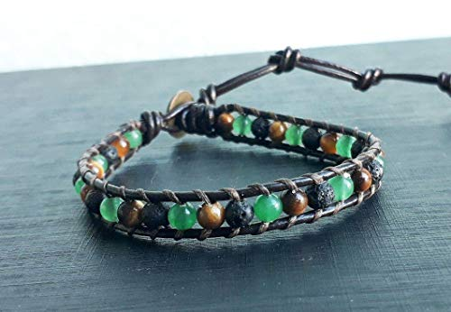 Lava jade tiger eye stone leather bracelets,wrap bracelets,men and women bracelets,friendship bracelets,gift bracelets (Leather Jade)