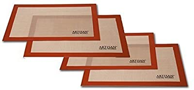 "Artisan Silicone Baking Set with Mat Liners for Half-Size Cookie Sheets with Red Border, 16.5 x 11 inches, ""4-Pack """