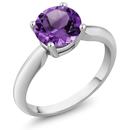 Sterling Silver Amethyst Women's Solitaire Engagement Ring (1.30 Cttw, 7MM Round Cut, Available in size 5, 6, 7, 8, 9) Amethyst Solitaire Ring
