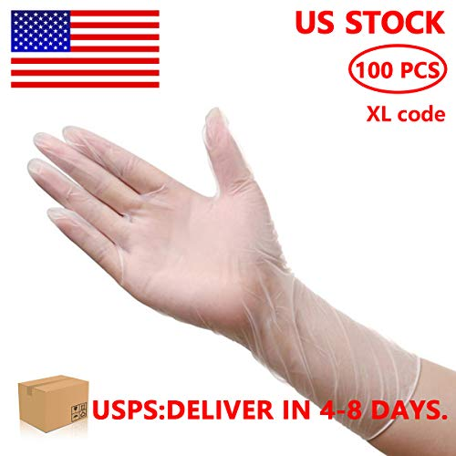100 Pcs Vinyl Disposable Clear Gloves – Powder Free, Latex Free, High Density Vinyl Safety Protective Gloves, X-Large