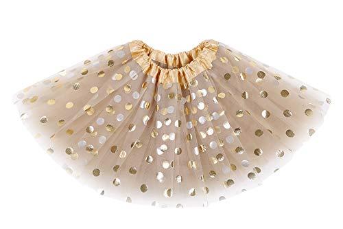 Simplicity Girls Tutu Tulle Polka Dot Dress-up Princess Fairy Tutu Skirt, Golden, 2-8 Years