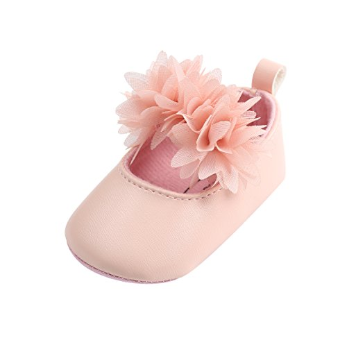 Kuner Baby Girls Lace Bow Mary Jane Princess Shoes No-Slip First Walkers Shoes (13cm(12-18months), Pink PU Flowers) ()
