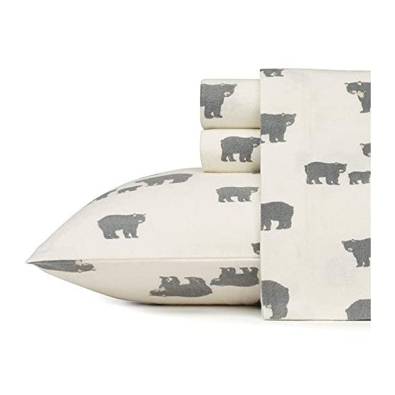 Eddie Bauer | Bear Family Collection | 100% Cotton Flannel Sheet, 3-Piece Bedding Set, Pre-Shrunk and Brushed for Ultra Soft and Cozy Feel, Twin, Grey - INCLUDES: (1) fitted sheet, (1) flat sheet, (1) pillowcase MATERIAL: 100% Cotton Flannel FEATURES: Pre-shrunk and brushed for added softness. Fully elasticized fitted sheet prevents slipping from mattress and ensures a perfect fit - sheet-sets, bedroom-sheets-comforters, bedroom - 41n1bZaZ5WL. SS570  -
