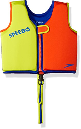 (Speedo Kids UPF 50+ Begin to Swim Classic Swim Vest, Lime/Orange, Large)